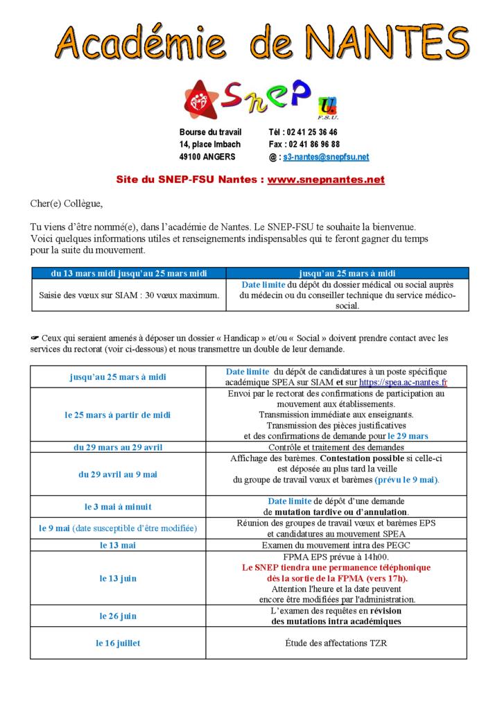 Calendrier Mouvement Intra Académique 2021 Calendrier mouvement INTRA | SNEP académie de NANTES